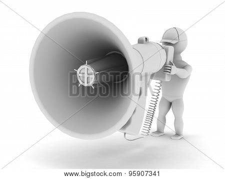White Man Speaks To A Large Megaphone