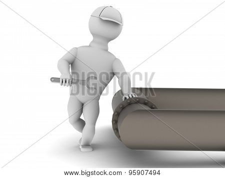 White Man With A Wrench Near The Large Pipe