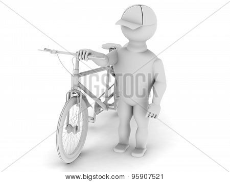 White Man With A Bicycle Is Walking