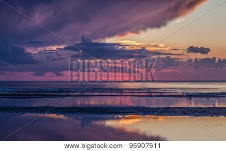 Colorful Sunset On The Sea With Reflection