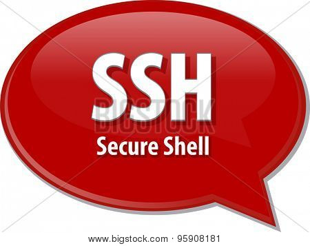 Speech bubble illustration of information technology acronym abbreviation term definition SSH Secure Shell