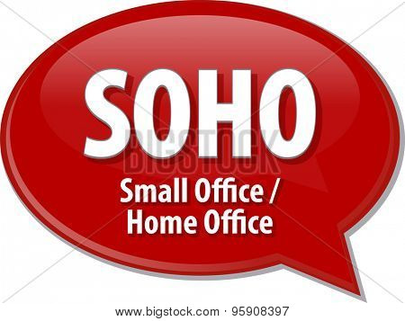 Speech bubble illustration of information technology acronym abbreviation term definition SOHO Small Office Home Office