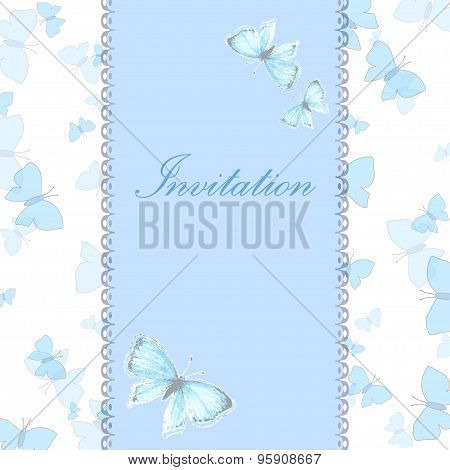 Vintage invitation card with blue butterfly