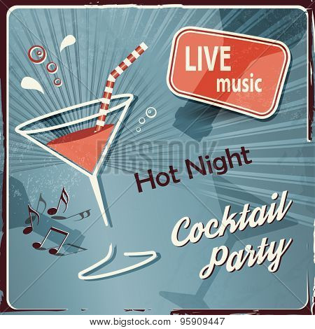 Retro music party background with cocktail
