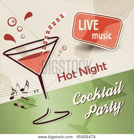 Cocktail party background with music banner ad