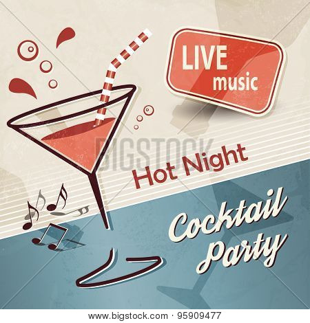 Party background with cocktail in retro style