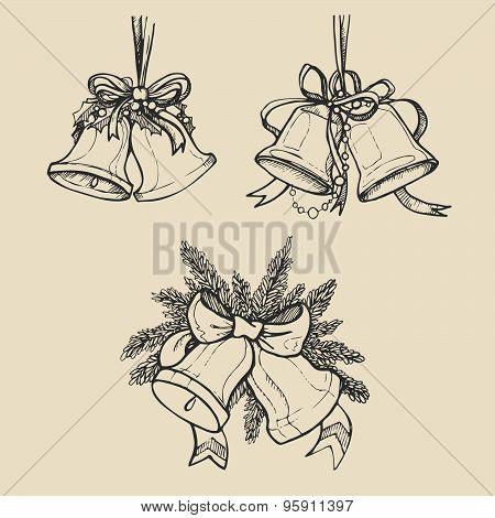 Vintage hand-drawn Christmas bells. Vector illustration.