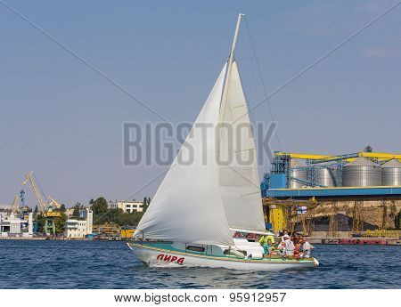 Sevastopol, Ukraine - September 02, 2011: Tourists On A Water Tour On A Yacht