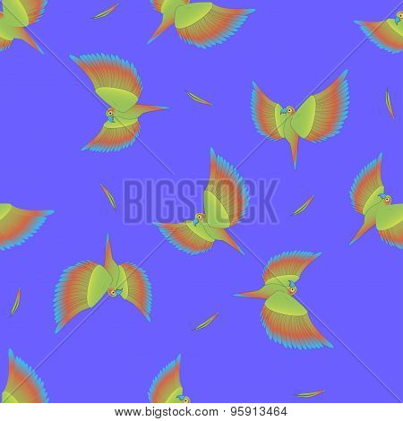 Seamless Pattern With Flying Colourful Parrot