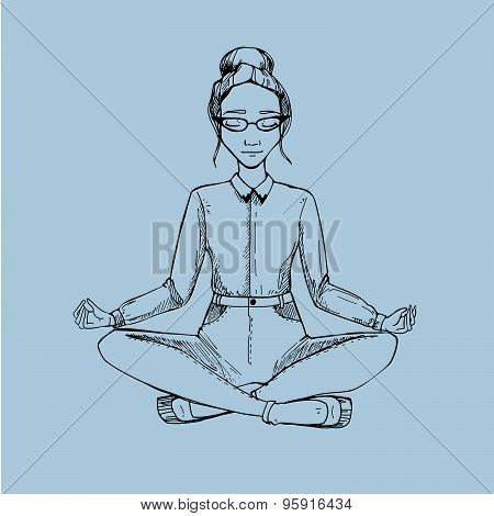 Woman In The Lotus Position. Vector Illustration.