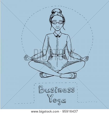 Business Yoga.womanl Is In The Lotus Position.  Vector Illustration.
