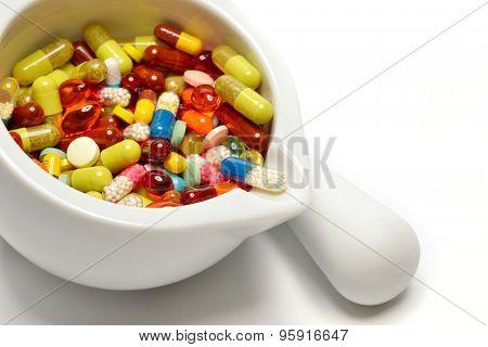 various pills in a mortar
