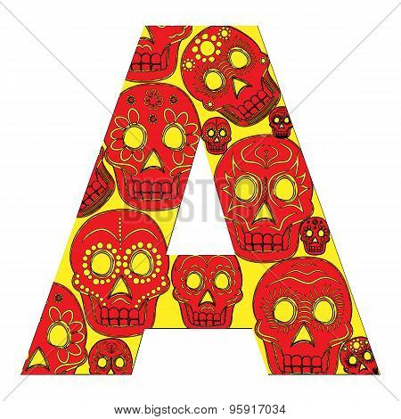 "Letter Of The Alphabet ""a"" With A Pattern Of Mexican Masks On A White Background. Easy To"
