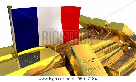 France economy concept with gold bullion