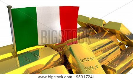 Italian economy concept with gold bullion