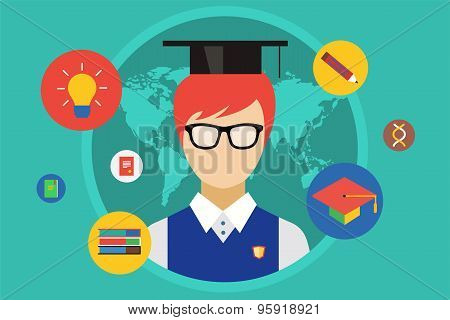 Student and university objects illustration. Education, college or school symbols. Stock design elem