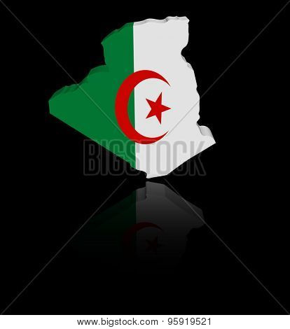 Algeria map flag with reflection illustration