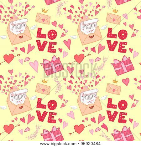 Hand Drawn Vector Illustration. Love Letter With Hearts, Gifts And Love.seamless Pattern