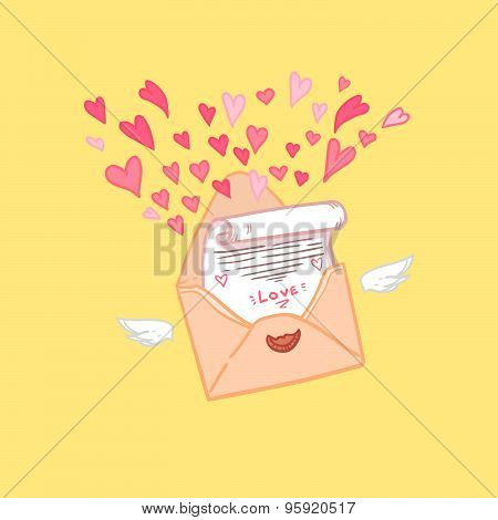Hand Drawn Vector Illustration. Love Letter With Hearts