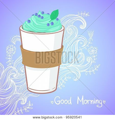 Hand Drawn Vector Illustration - Coffee Drink With Mint