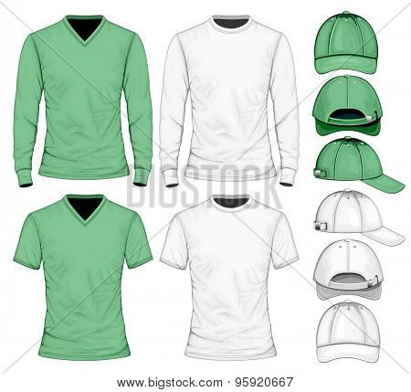 Men's t-shirt long and short sleeve and baseball caps.  Vector illustration.