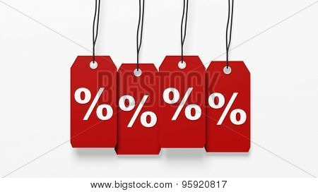 Red hanging sales tags with percentage sign isolated on white background