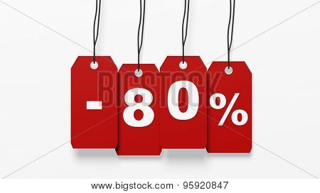 Red hanging sales tags with eighty percent discount isolated on white background