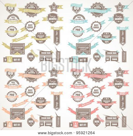 Big Collection of Quality Labels with 4 colors version. Idea to use for  Vintage designs, restaurant menu, dinner posters, diner listing, advertising and product highlightining.