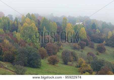 Lonely house on a wooded hill. Autumn landscape in a mountain village. Foggy Day. Carpathians, Ukraine
