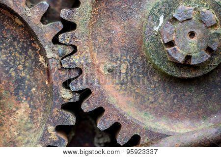 Rusty iron wheel close up