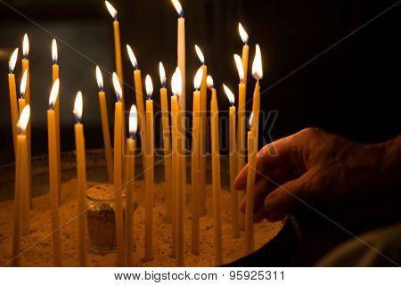 candle flame at night closeup