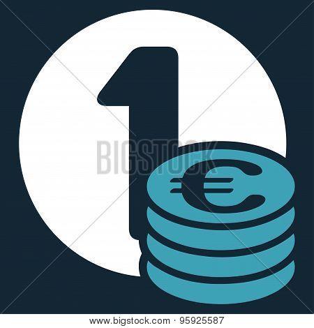 Euro coin column icon from BiColor Euro Banking Set