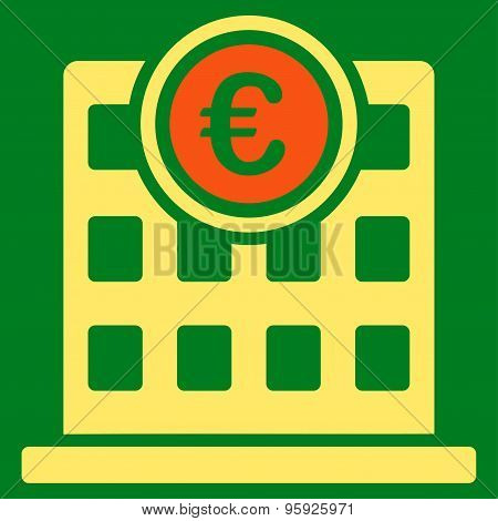 Company Building Flat Icon From Bicolor Euro Banking Set
