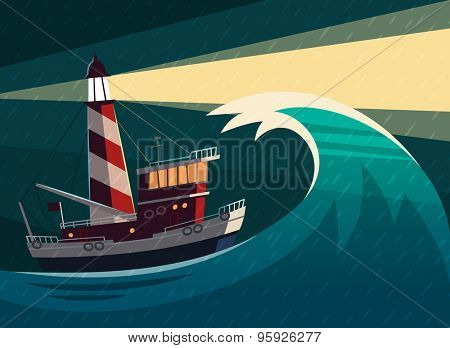 Tugboat with lighthouse on it during the storm. Vector illustration.