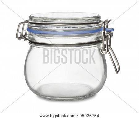 Empty storage glass jar isolated on white