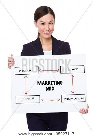 Businesswoman hold with a board showing marketing mix concept