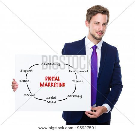 Man with white banner presenting digital marketing concept