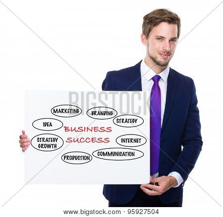 Man with white banner presenting business success concept