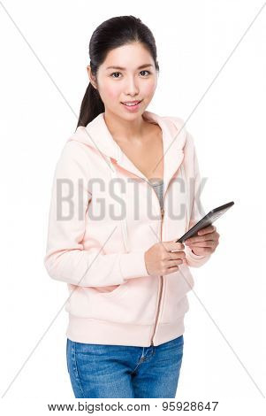 Young Woman hold with tablet pc