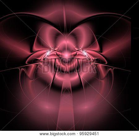 Fractal Illustration Background Shiny Pink Satin Bow