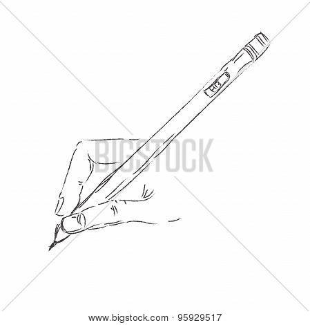 hand, drawing, speech, speak, vector, pen, icon, pencil
