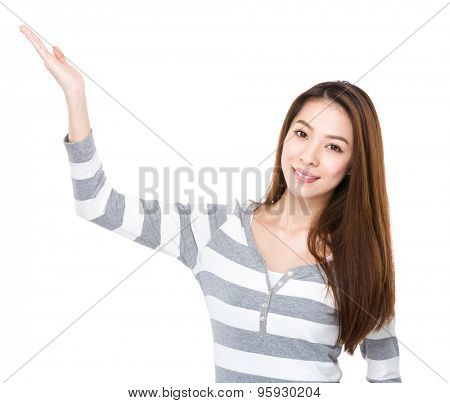 Asian woman with open hand palm