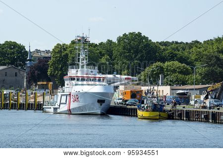 USTKA - JULY 07: Maritime rescue vessel SAR-3000 in the harbour on 7 July 2015 in Ustka, Poland.