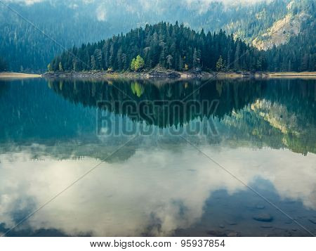 Deep blue lake near the mountains