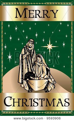 Merry Christmas Green Nativity
