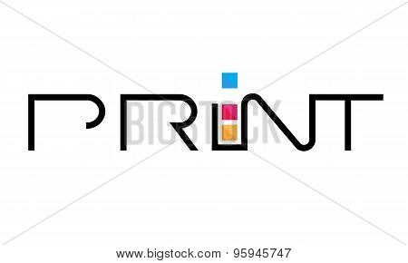 Lettering logo template, vector, print shop, typography business