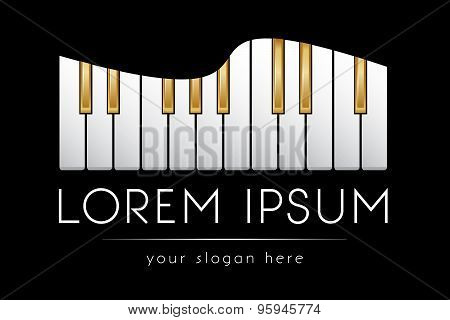 Logo template, gold piano keys, vector