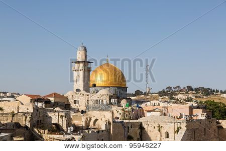 The Mosque Of Al-aqsa, Minaret And Roofs In Jerusalem With Doves In Sky