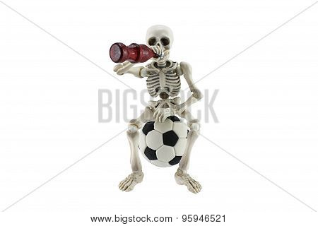 Skeleton Stress On Soccer Ball Isolated On White Debt Of Football Betting Concept.