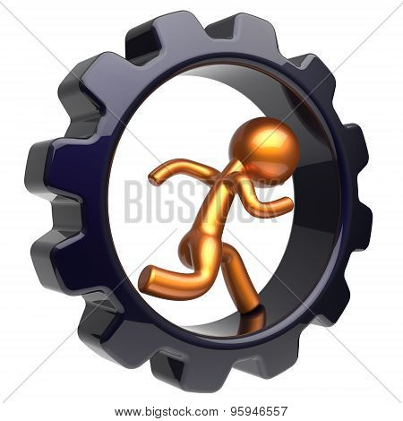 Gear Wheel Running Man Character Inside Gear Wheel Icon